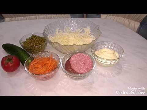 Салат за 10 минут, с капустой, колбасой,,,