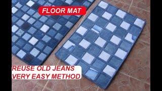 REUSE old jeans,denim, old cloths  to make floor mat - door mat - carpet - area rug - table mat