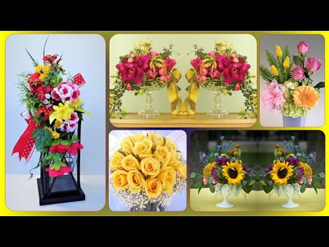 Pink And Yellow Flower Arrangements Centerpieces | Blush Pink Wedding Centerpieces
