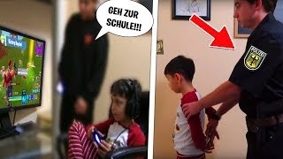 7 YEAR YOUNG Tails the SCHOOL because of FORTNITE and that's what happened... (do not imitate!)