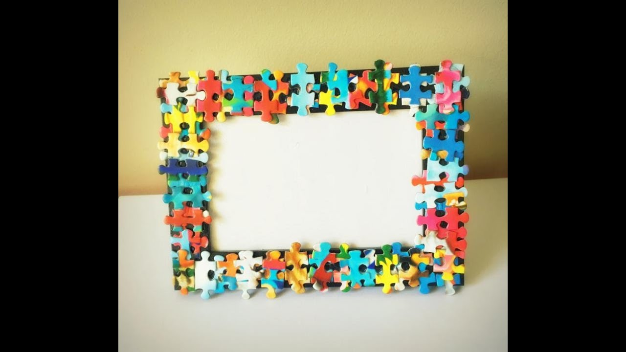 Recycle puzzles decorate photo frame home decor gift for West materials crafts