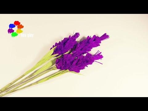 Cách làm hoa Oải Hương bằng giấy nhún - Lavender paper toturial [hoagiayshop.com]