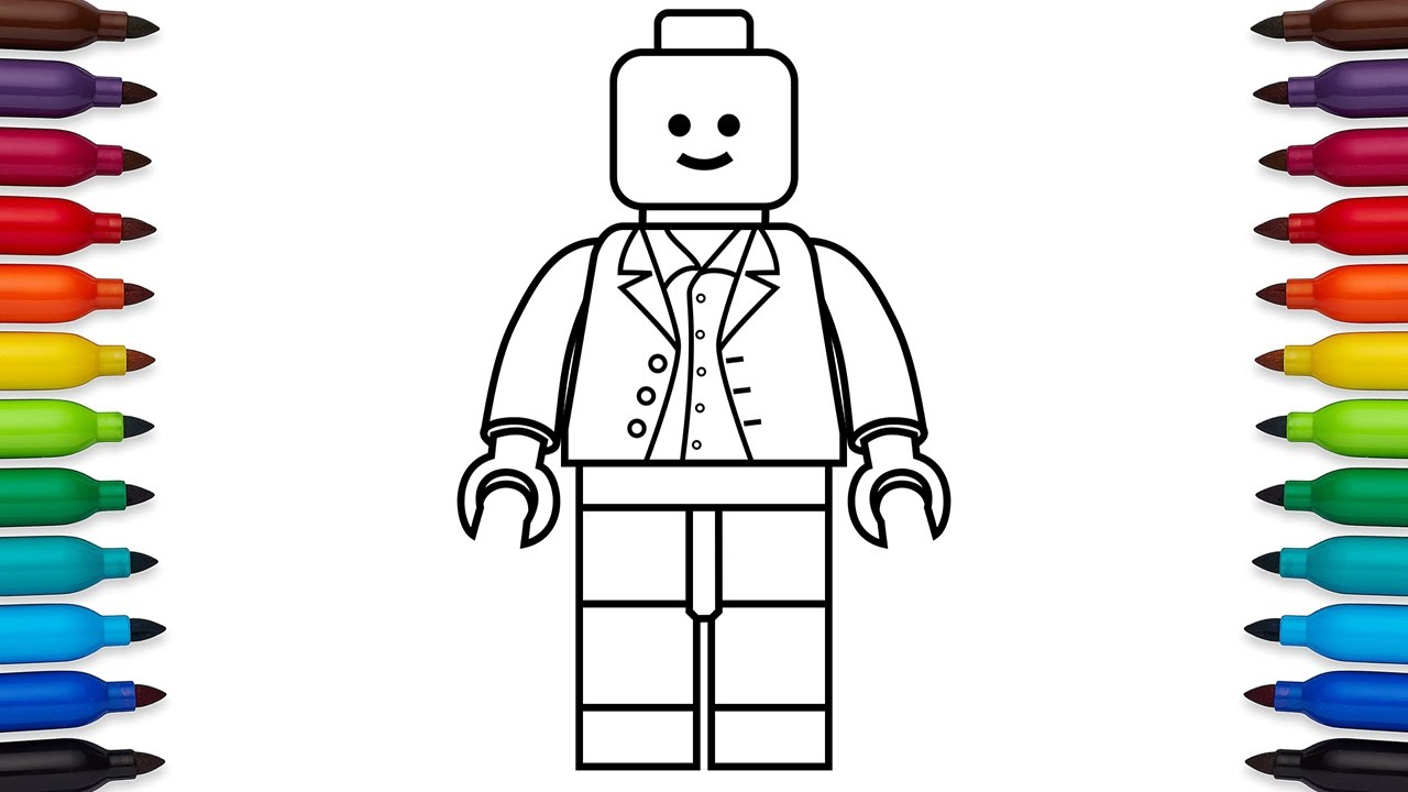 How to draw a simple lego minifigure - easy drawing video for kids -  coloring pages