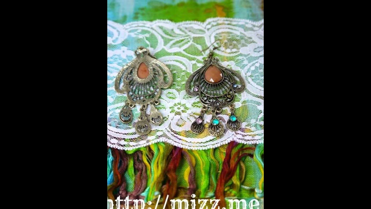 Mizz Me Rhinestone Fan Filigree Teardrop Chandelier Earrings Free Worldwide