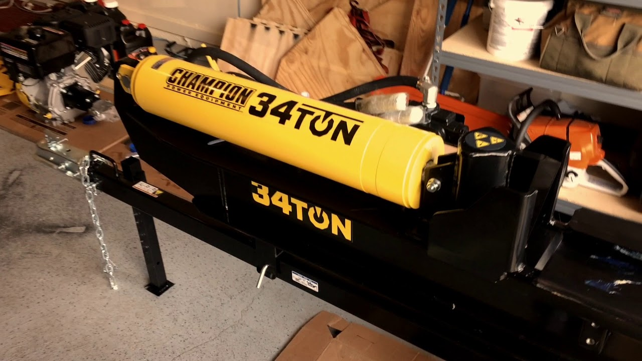 CHAMPION 34 TON Log Splitter Unboxing And First Use
