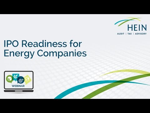 IPO Readiness for Energy Companies Webinar