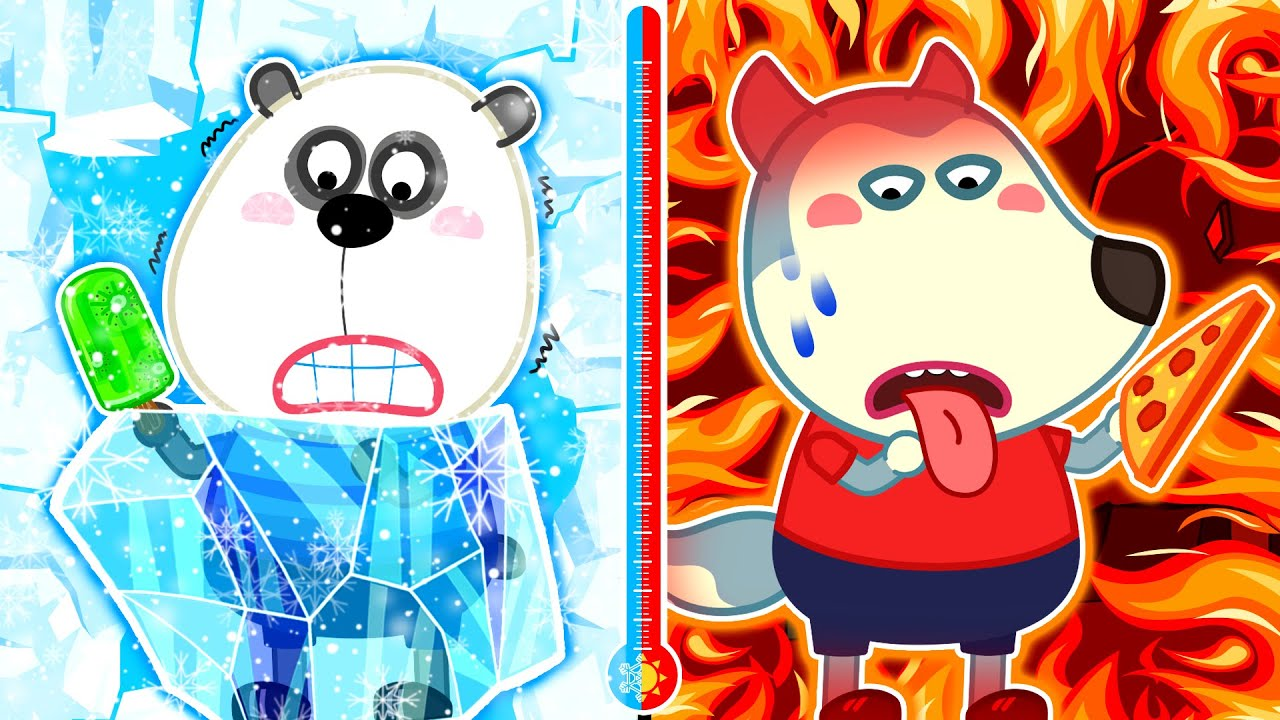 Wolf Family🌞 Hot vs Cold Food Challenge - Icy Pando vs Fire Wolfoo Learn Healthy Habits for Kids