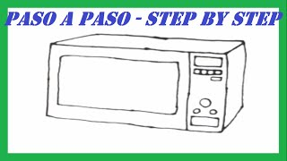 Como dibujar un Microondas paso a paso l How to draw a Microwave step by step