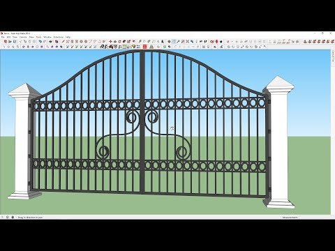 How to draw modern steel gate in sketchup