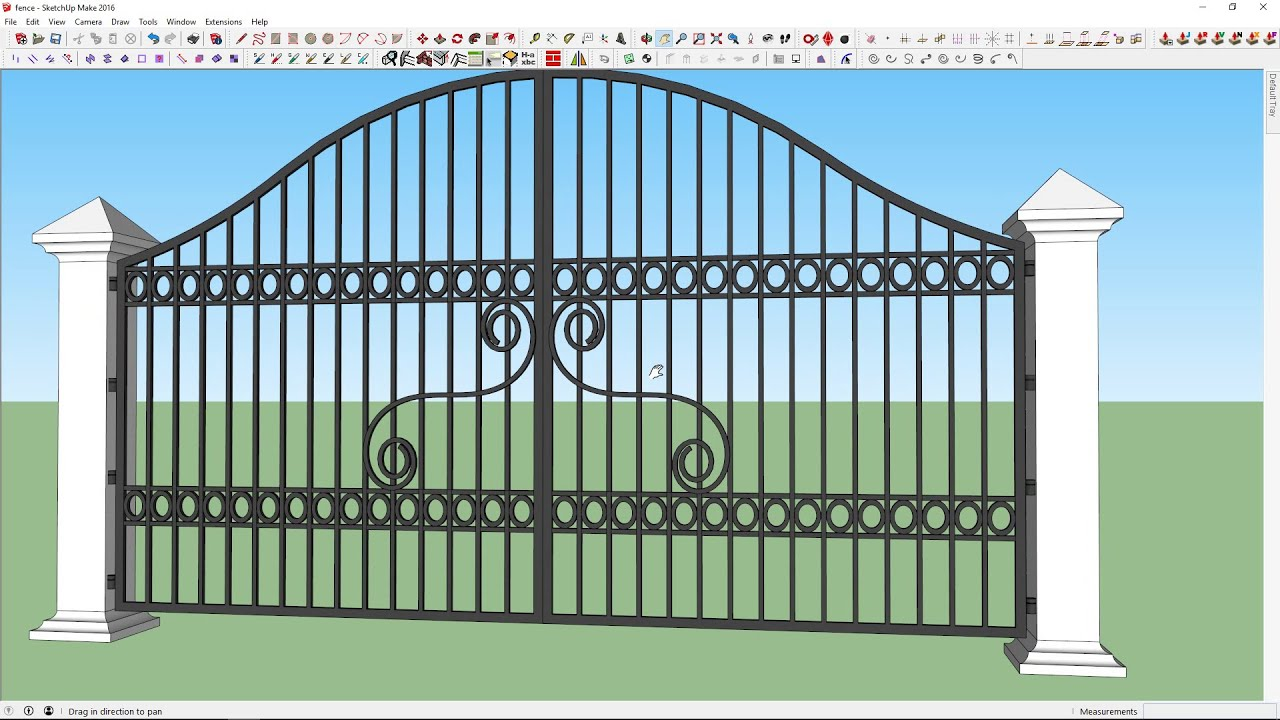 how to draw modern steel gate in sketchup youtube