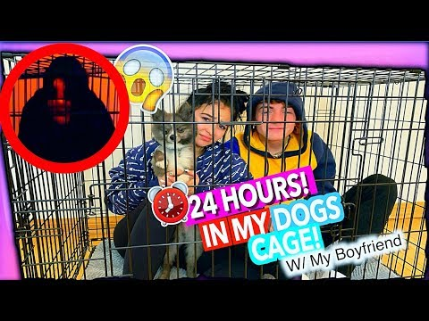 24 Hours In My Dogs Cage! *Challenge