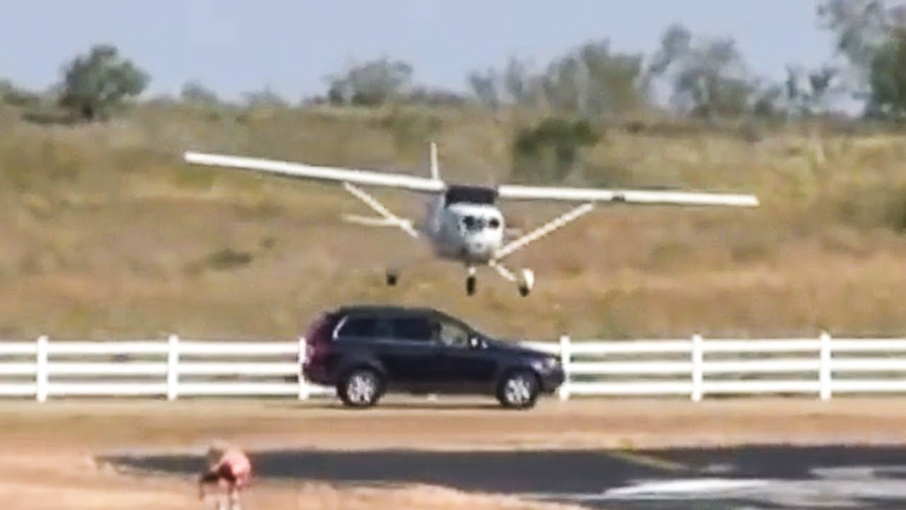 Plane Hits Car While Landing