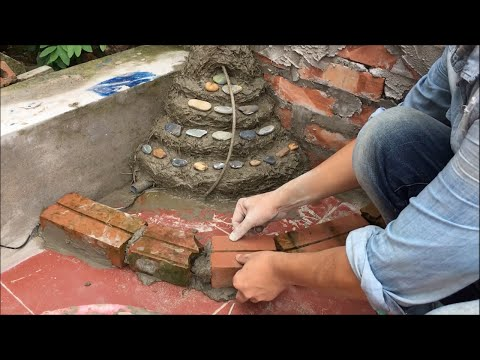 Garden Design Ideas   Idea Home Decoration with Beautiful Waterfall and Small Fish Pond   DIY cement