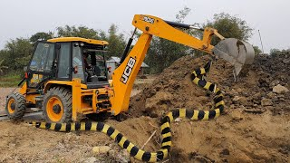 Camera Capture Snake on JCB Working Place - JCB Machine Working For Road Construction