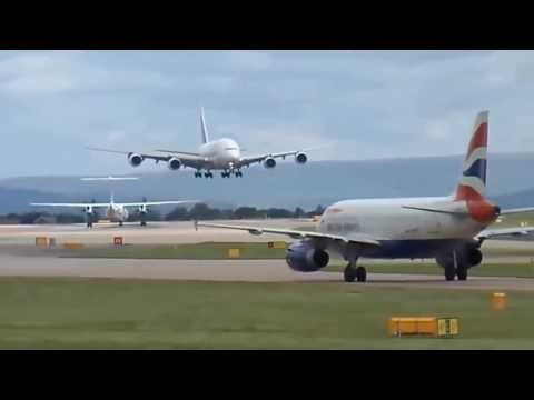 Очень опасные моменты во время взлета и посадки самолетов при сильном боковом ветре!!!!
