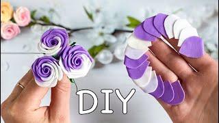 Двухцветные Розы из фоамирана Без шаблонов За 5 минут DIY Rose Flower Foam Paper / Flores de foami