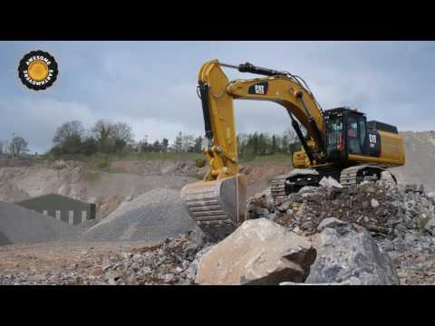 New Cat 352F Excavator Working In A Quarry 4k