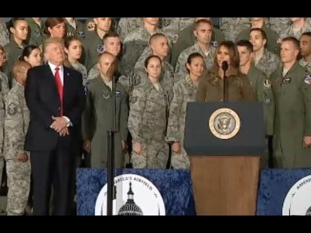 Melania Trump Introduces Donald Before Air Force Celebration