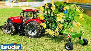 BRUDER TOYS RC Krone HAY RAKE at work! | Farming video for kids