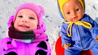 Winter Fun in the Snow! Snow Slide Playtime with Baby Born Doll