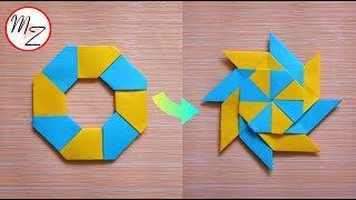 8-Pointed Transforming Ninja Star DIY (Origami paper toys) | How to make a ninja star from paper