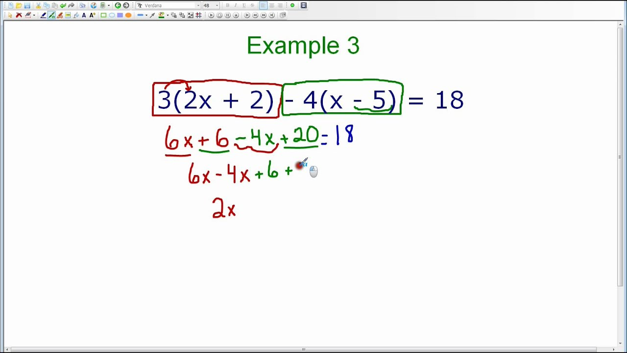 Using the Distributive Property when Solving Equations – Solving Equations with Distributive Property Worksheet