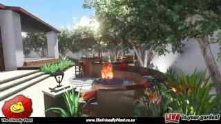 Outdoor Bar With Integrated Fire Pit Area