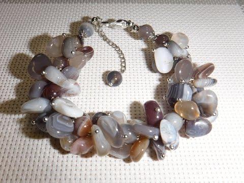 Украшения из розового кварца, цоизита, агата. Jewellery made of natural stones.