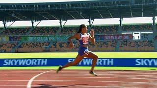 Kristina Knott sets a new SEA Games record in the women's 200m event   2019 SEA Games