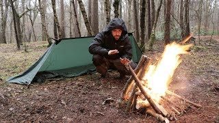 Solo Overnight Camp - Stealth Tarp, Winter Camping in Cold Rain, 100 Year Old Tools.