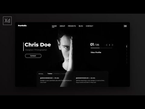 Web Design Speed Art - Modern Portfolio Website in Adobe XD