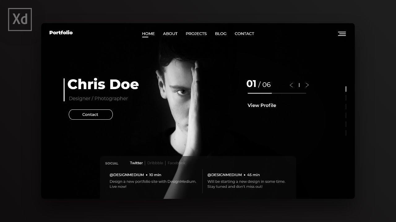 Web Design Speed Art – Modern Portfolio Website in Adobe XD