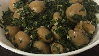 Healthy Spinach and Mushroom side-dish ( Palak Mushroom) Nutritious and Delicious