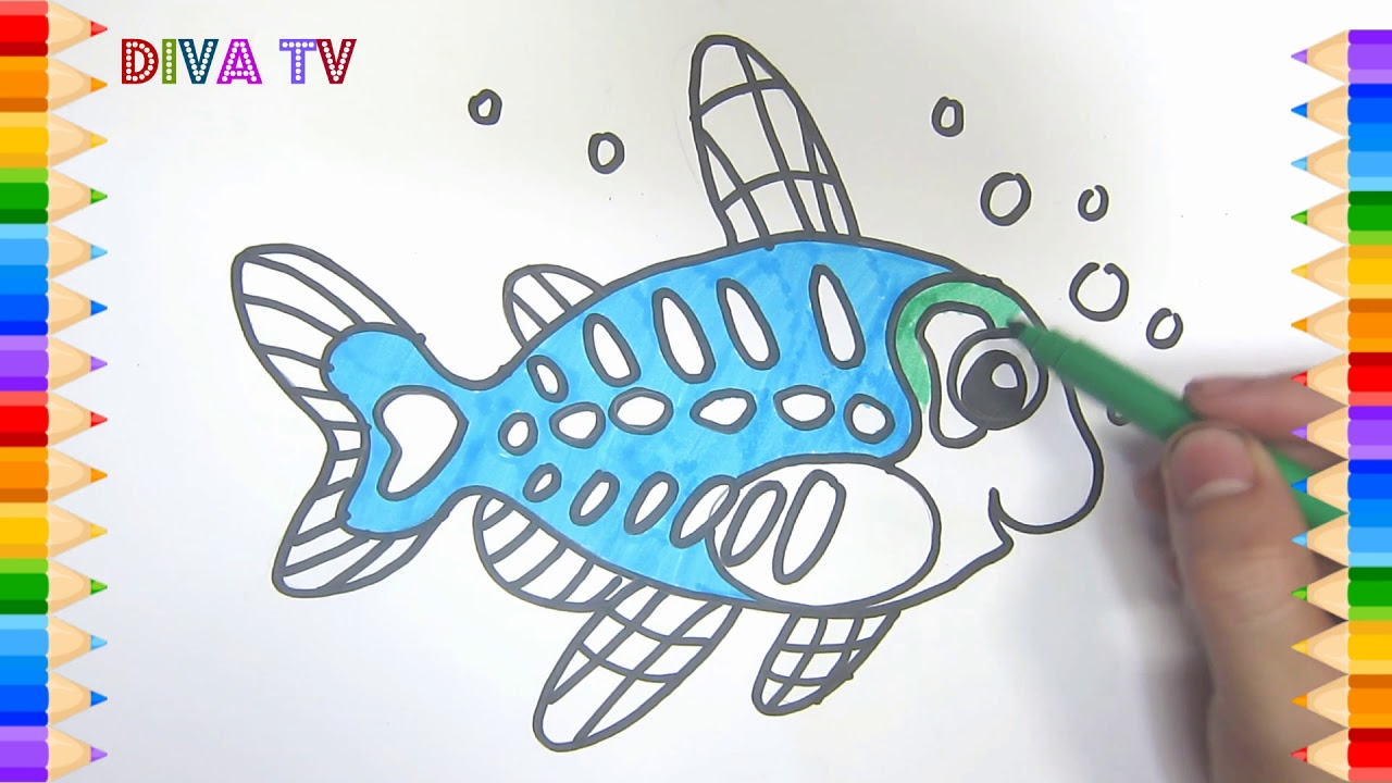 How To Draw Cute X Ray Fish Drawing Lessons For Kids Drawing