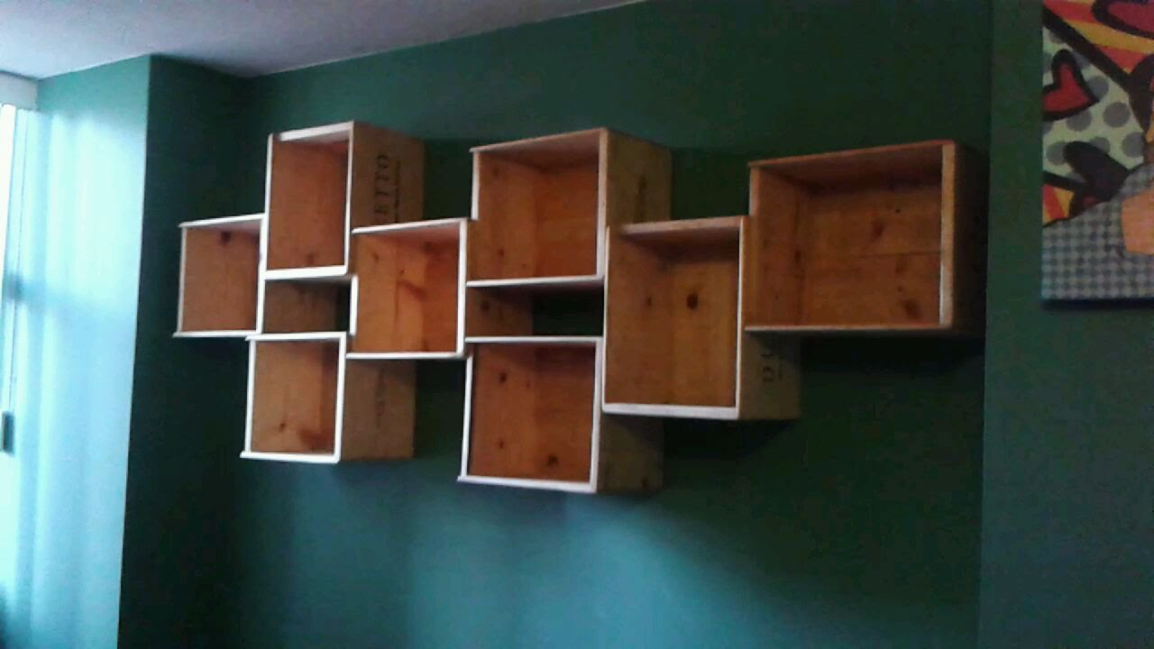 DIY How To Make A WINE BOX BOOK SHELF