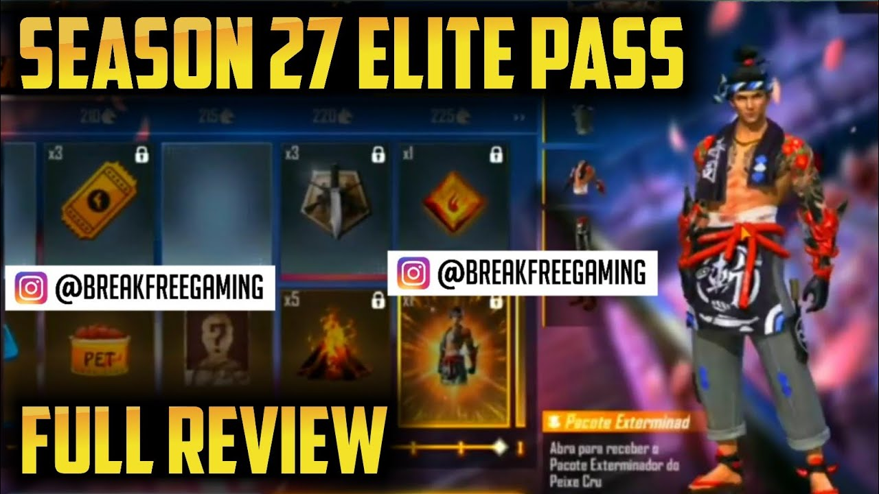 Season 27 Elite Pass of Free Fire ll Upcoming Augest Elite Pass Full Review ll Garena Free Fire