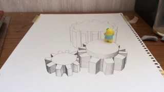 """3D trick Art """"A gear wheel"""" 3Dトリックアート""""歯車"""" Toya"""