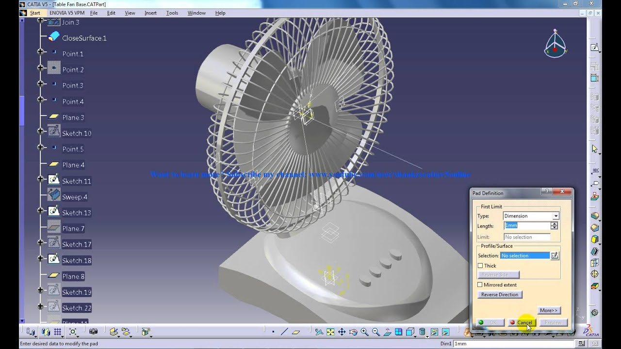 Catia V5 Tutorials P8 3 How To Create A Table Fan Product
