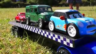 TOY TRUCK TRANSPORTER FOR KIDS TRANSPORTATION CARS MINI COOPER, LAND ROVER AND MERCEDES BENZ