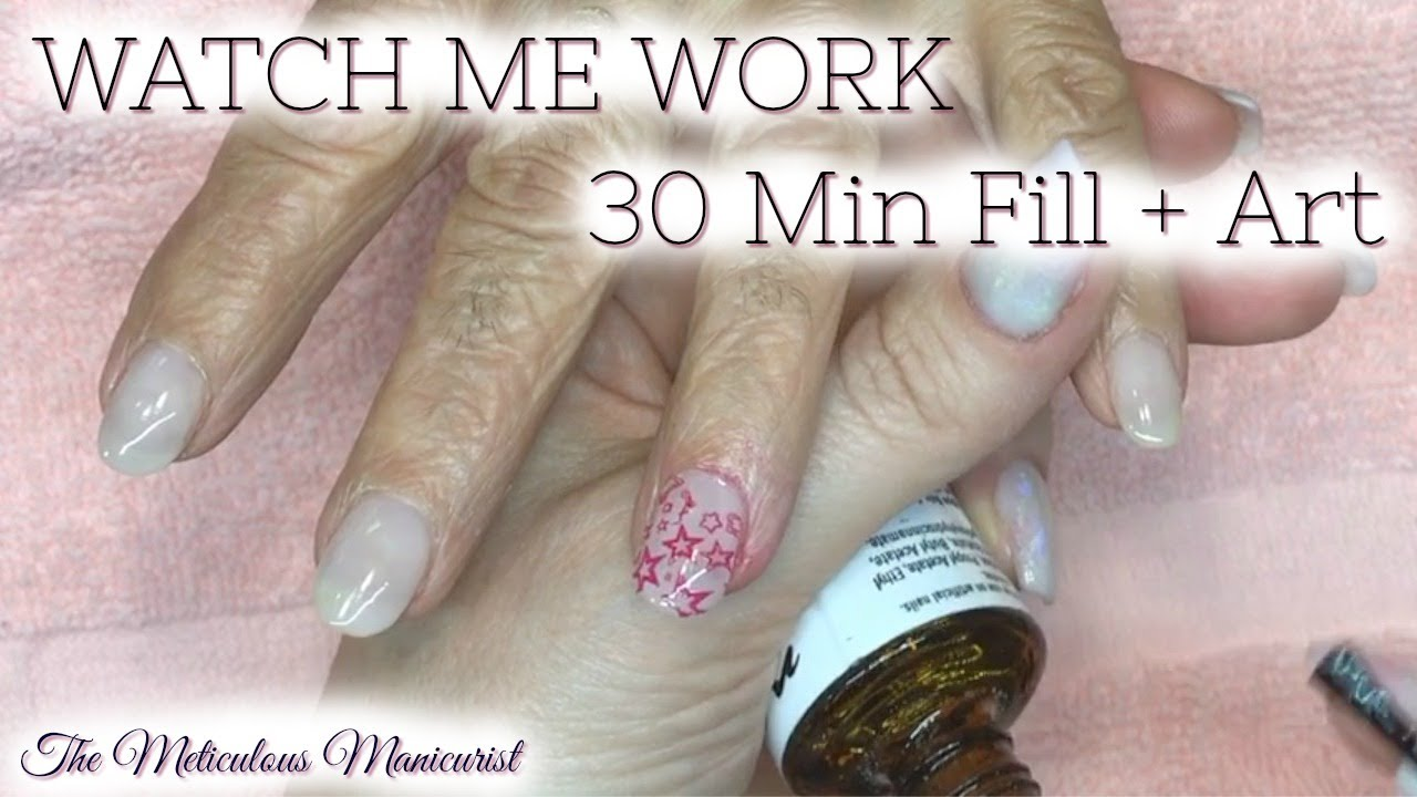 Watch Me Work Acrylic Nail Fill And Nail Art Stamping In 30 Min