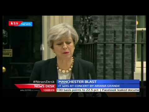 British Prime Minister Theresa May makes an address concerning the Manchester blast