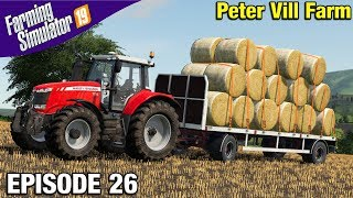 STACKING ROUND BALES Farming Simulator 19 Timelapse - Peter Vill Farm FS19 Episode 26