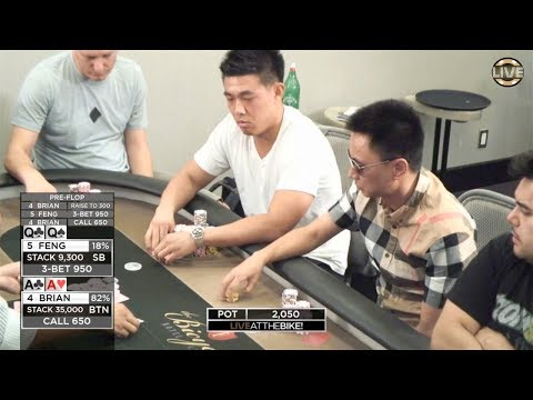 AA vs QQ with over $20,000 on the line! ♠ Live at the Bike!