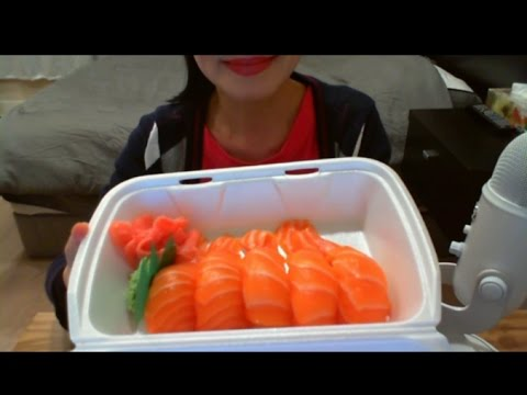 asmr eating sounds - salmon nigiri 연어스시
