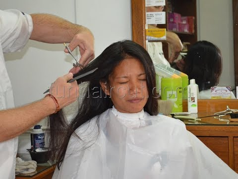 Barbershop girl Maria long to short hair cut