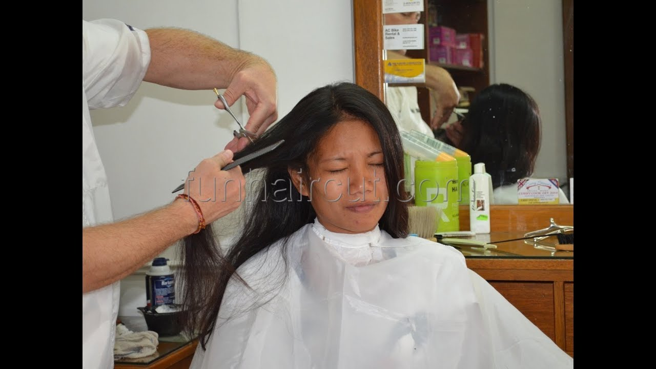 Barbershop girl Maria long to short hair cut