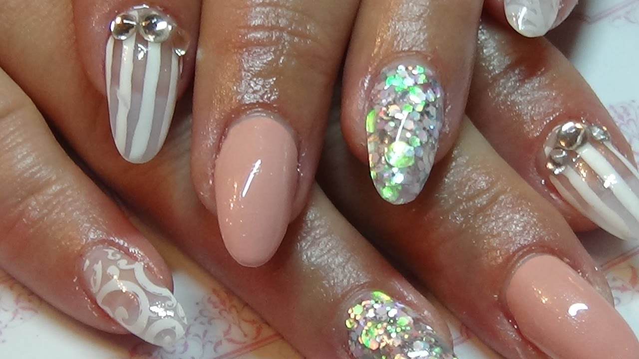 shabby chic acrylic nails with stamping & madam glam polish - YouTube