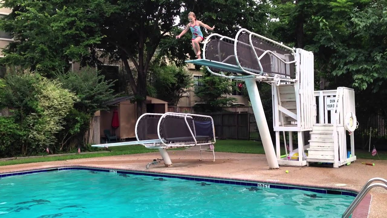 Kids diving at the pool youtube for Swimming pool diving board tricks
