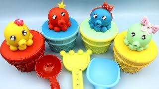 4 Colors Play Doh Baby Octopus Ice Cream Cups Surprise Toys PAW Patrol Mighty Pups Super Paws Toys