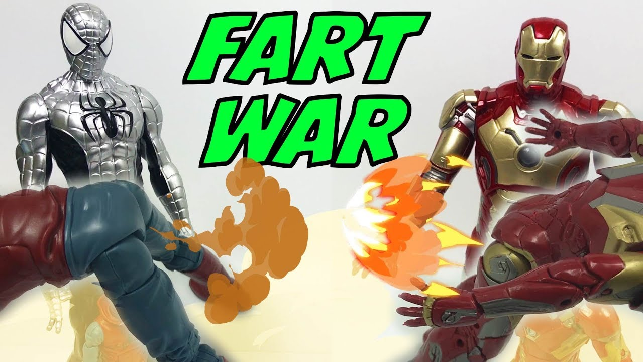 Toys in Action Ep05 -  Fart Spiderman and Ironman!! Bison King mad about their farts!!!!